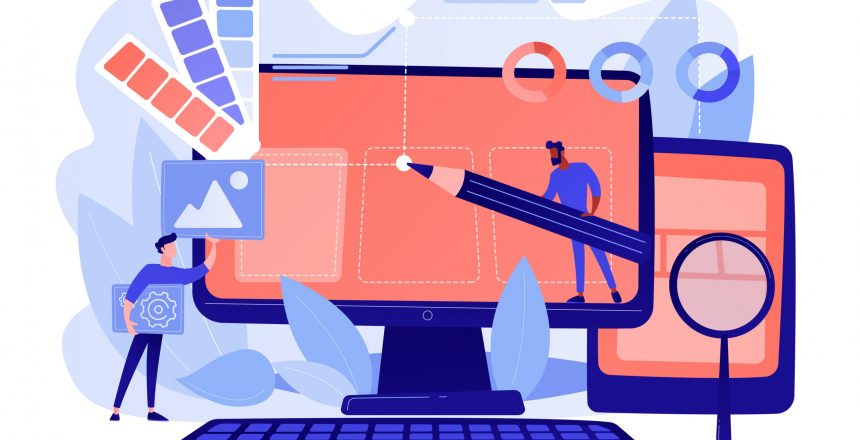 Designers are working on the desing of web page. Web design, User Interface UI and User Experience UX content organization. Web design development concept. Pinkish coral blue palette. Vector illustration
